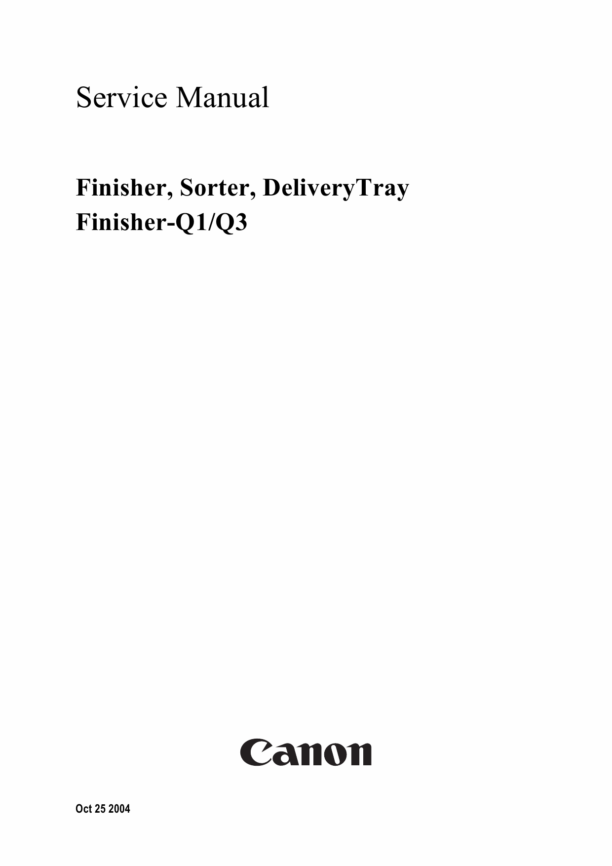 Canon Options Finisher-Q3 Q1 Sorter DeliveryTray Puncher Service Manual-1